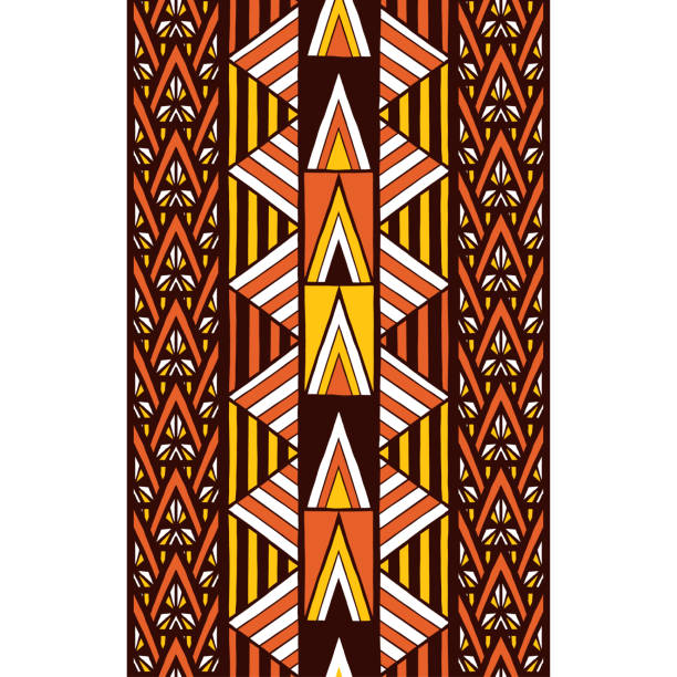 Ethnic tribal pattern border seamless. Aboriginal geometric texture. Ethnic tribal pattern border seamless. Aboriginal geometric texture. south africa stock illustrations