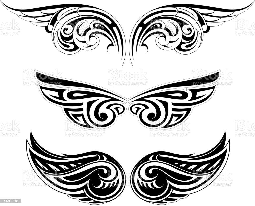 Ethnic wing tattoo set vector art illustration