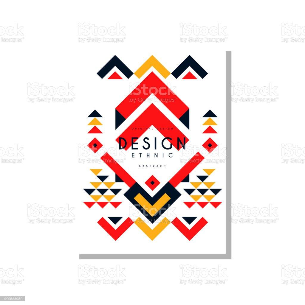 Ethno-Vorlage abstrakte Kartendesign, ethnische tribal geometrische Ornament, trendige Muster Element für Geschäft, Einladung, Flyer, Poster, banner-Vector Illustration – Vektorgrafik