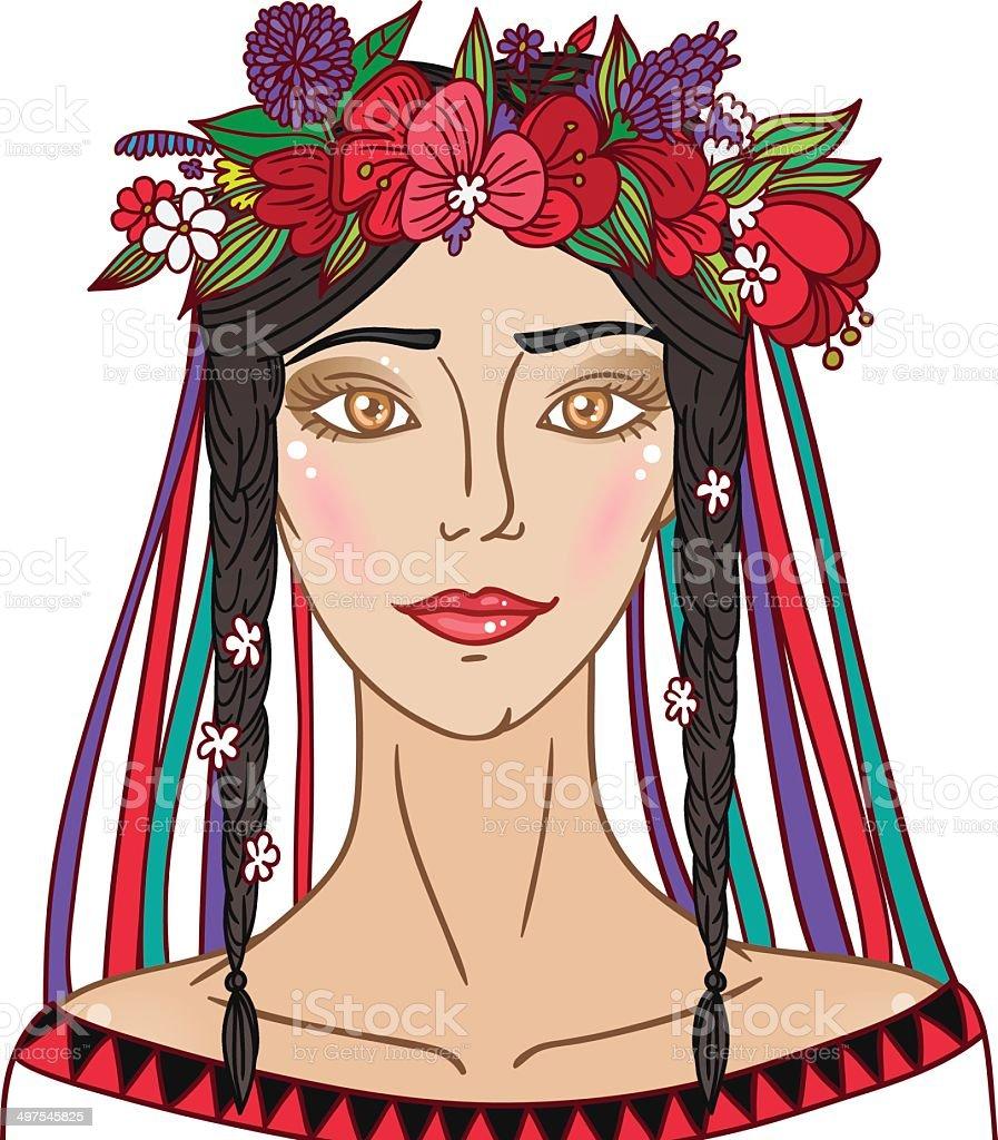 Ethno ukrainian girl vector art illustration