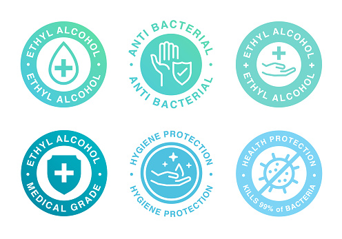 Ethyl Alcohol product label. Vector logo of alcohol gel and spray tag for product package.