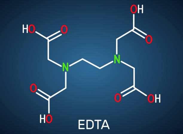 Ethylenediaminetetraacetic acid, edetic acid, EDTA molecule. It is a lead chelator and anti-coagulant. Structural chemical formula on the dark blue background Ethylenediaminetetraacetic acid, edetic acid, EDTA molecule. It is a lead chelator and anti-coagulant. Structural chemical formula on the dark blue background. Vector illustration lead poisoning stock illustrations