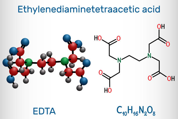 Ethylenediaminetetraacetic acid, edetic acid, EDTA molecule. It is a lead chelator and anti-coagulant. Structural chemical formula and molecule model Ethylenediaminetetraacetic acid, edetic acid, EDTA molecule. It is a lead chelator and anti-coagulant. Structural chemical formula and molecule model. Vector illustration lead poisoning stock illustrations