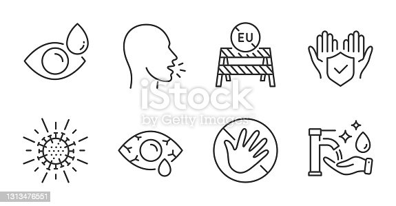 istock Eu close borders, Washing hands and Eye drops icons set. Coronavirus, Do not touch and Insurance hand signs. Vector 1313476551
