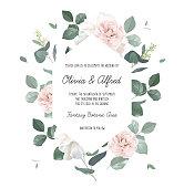 istock Eucalyptus and pale camellia, peony vector design invitation frame 1297673474