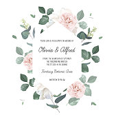 istock Eucalyptus and pale camellia, peony vector design invitation frame 1297673474