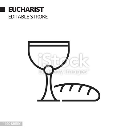 Eucharist Line Icon, Outline Vector Symbol Illustration. Pixel Perfect, Editable Stroke.