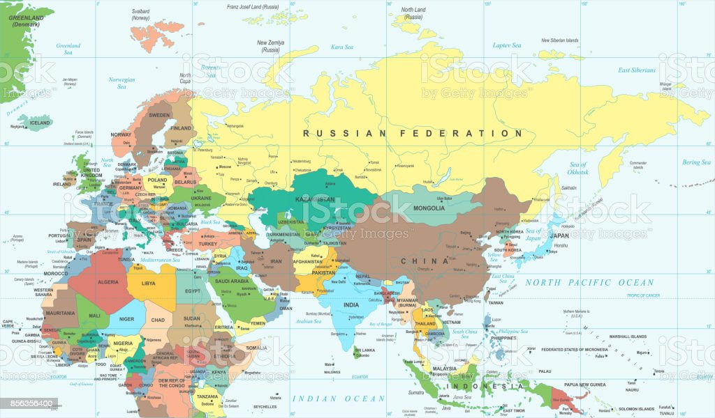Picture of: Eurasia Europa Russia China India Indonesia Thailand Africa Map Vector Illustration Stock Illustration Download Image Now Istock