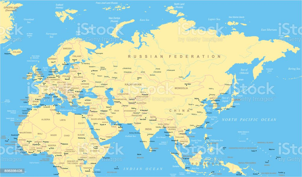 Map Of India And Africa.Eurasia Europa Russia China India Indonesia Thailand Africa Map