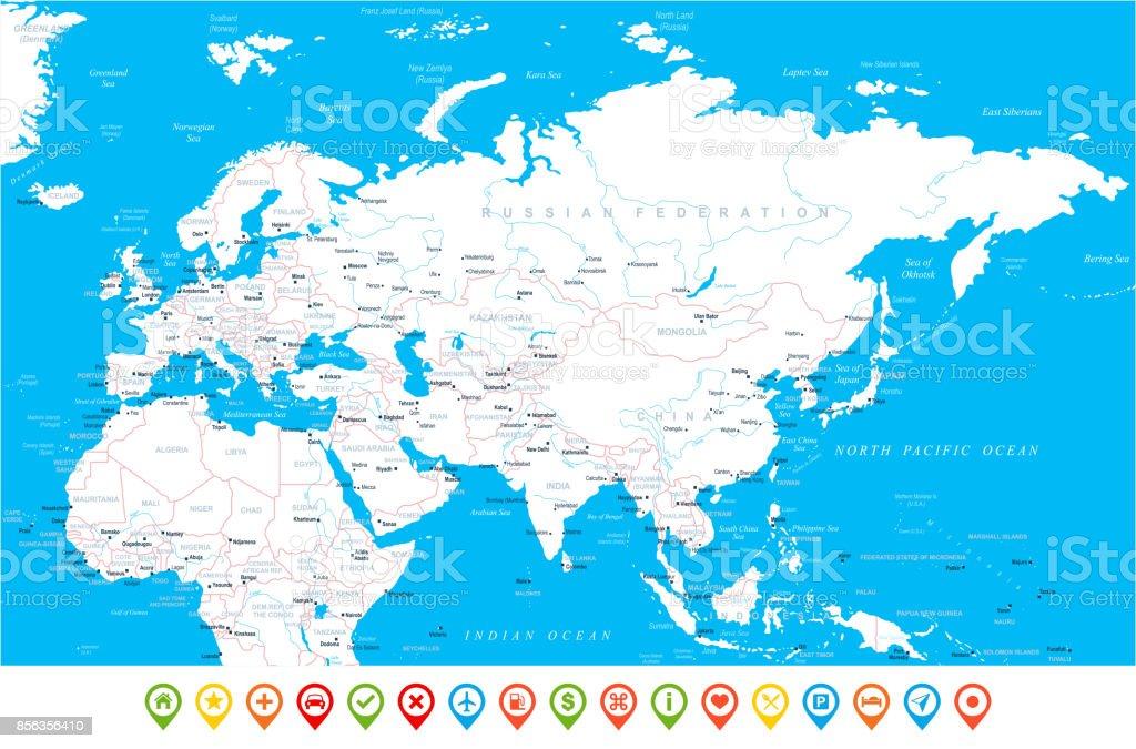 Carte Afrique Vectorielle.Eurasia Europa Russie Chine Inde Indonesie Thailande Carte