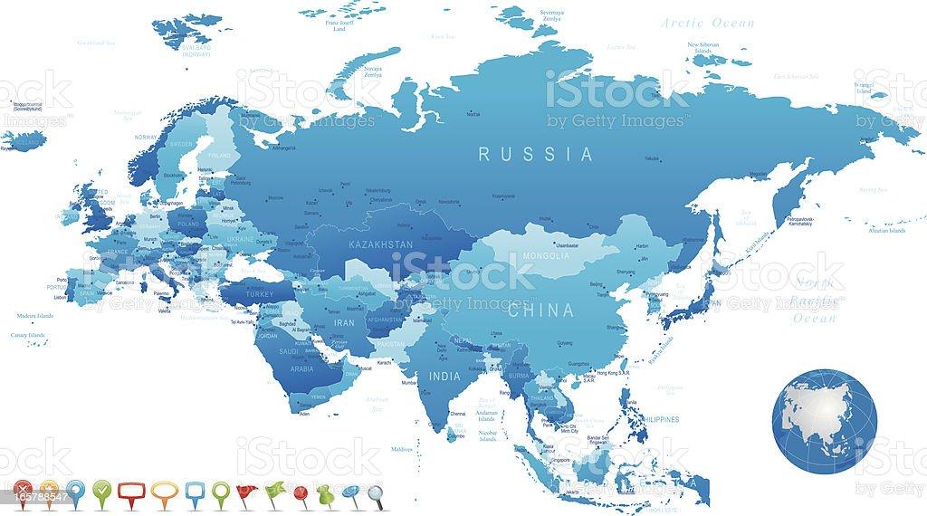 Eurasia - highly detailed map vector art illustration