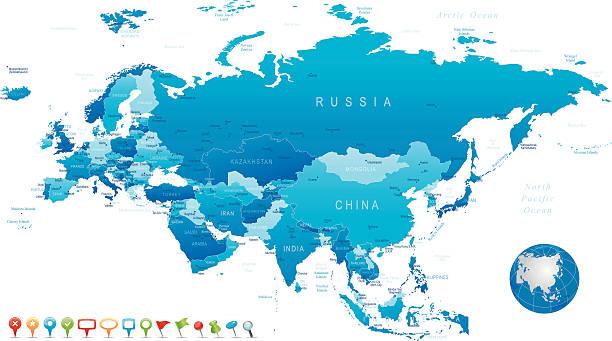 ユーラシア大陸-非常に詳細な地図 - アジア地図点のイラスト素材/クリップアート素材/マンガ素材/アイコン素材