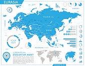 Vector map of Eurasia with infographic elements