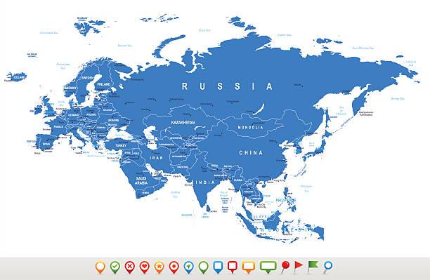 eurasia-karte und navigation symbole-illustration - kasachstan stock-grafiken, -clipart, -cartoons und -symbole