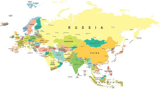 eurasia-karte-illustration - kasachstan stock-grafiken, -clipart, -cartoons und -symbole