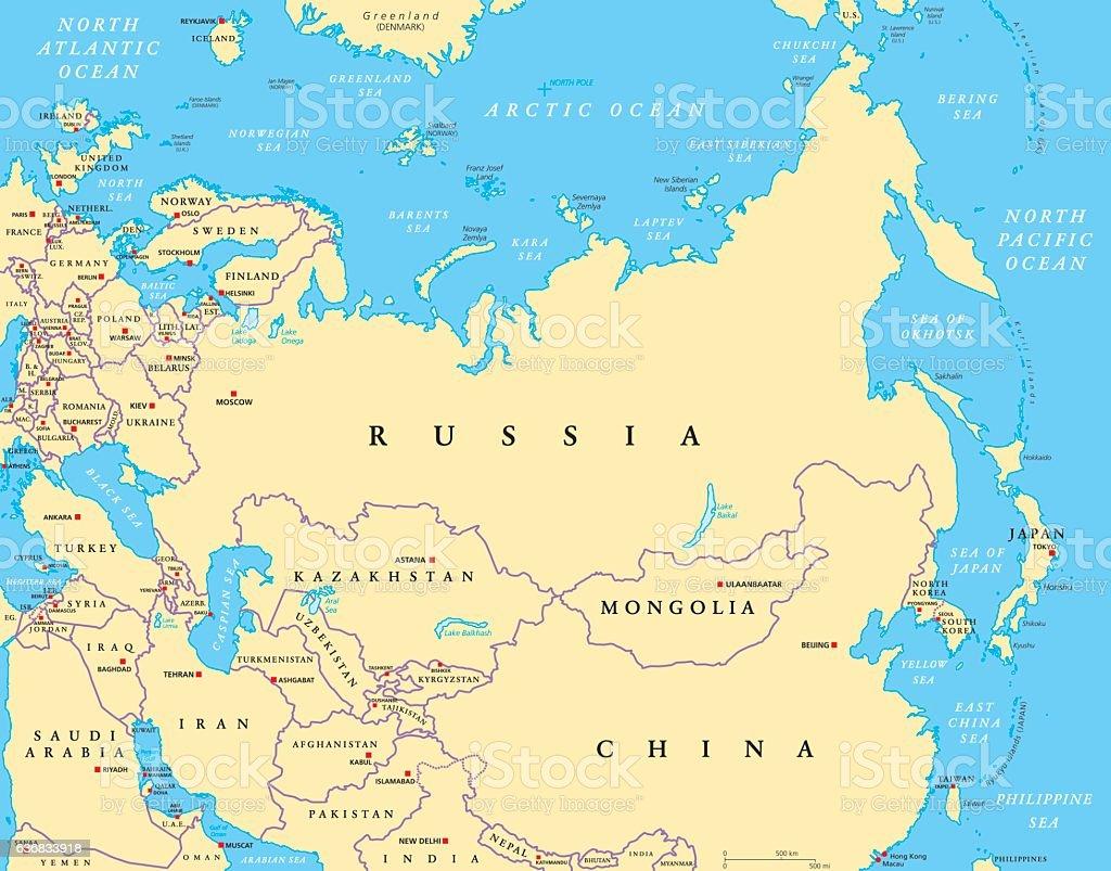 Eurasia political map vector art illustration