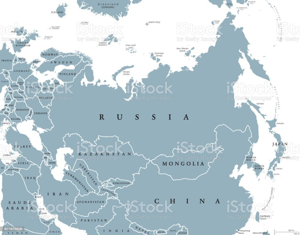 Eurasia political map with countries and borders vector art illustration
