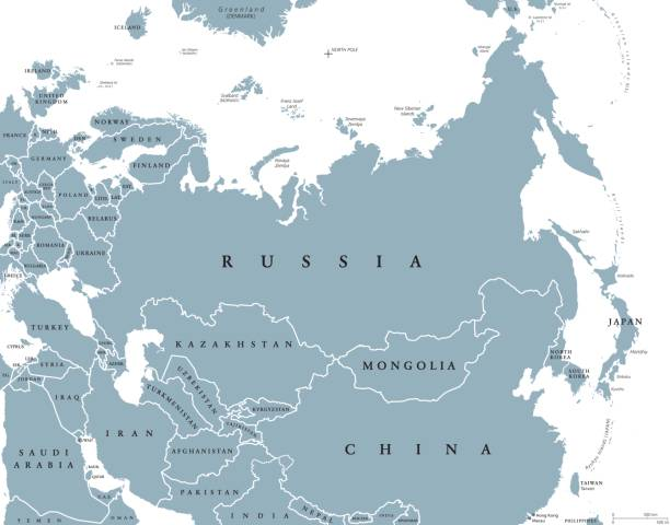 Eurasia political map with countries and borders Eurasia political map with countries and borders. Combined continental landmass of Europe and Asia located in Northern and Eastern Hemispheres. Gray illustration over white. English labeling. Vector. eurasia stock illustrations