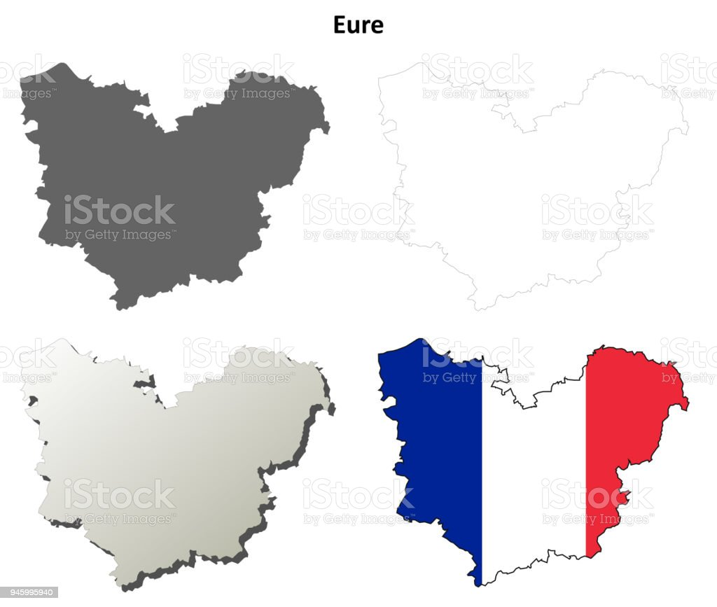 Map France 945.Eure Upper Normandy Outline Map Set Stock Illustration Download