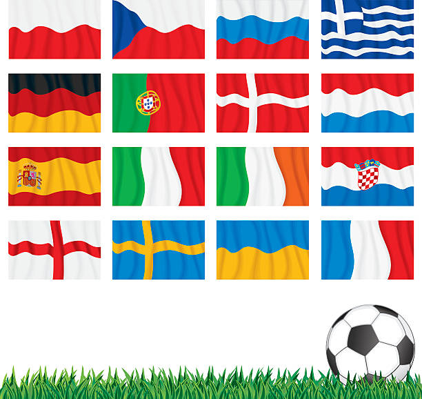 stockillustraties, clipart, cartoons en iconen met uefa euro 2012 flags - zuid europa
