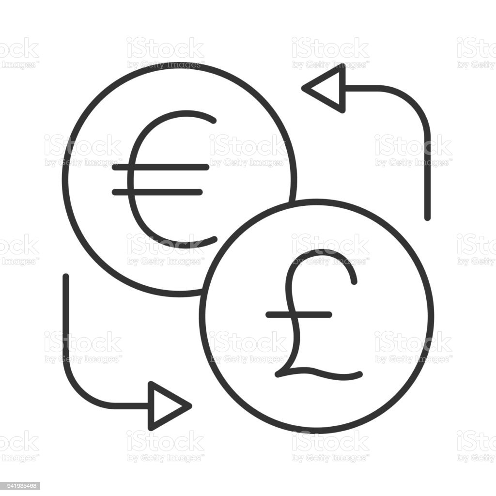 Euro And British Pound Currency Exchange Icon Stock Vector Art