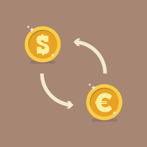 Euro and Dollar currency exchange Euro and Dollar currency exchange. Vector illustration exchange rate stock illustrations