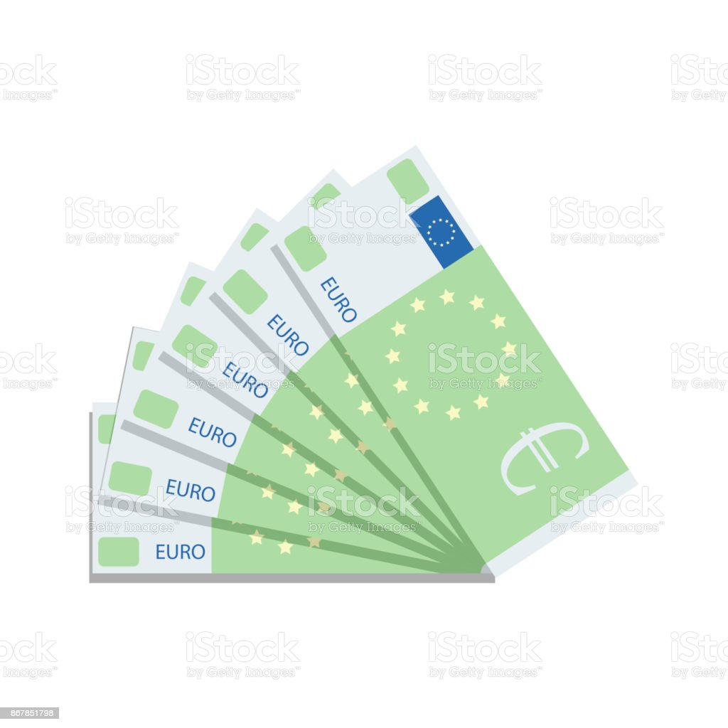 Euro banknote fan vector art illustration