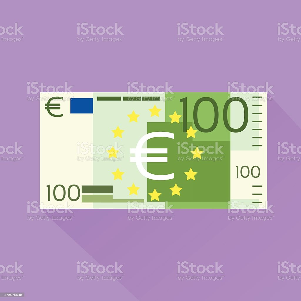 Euro Banknote Flat Design with Shadow vector art illustration
