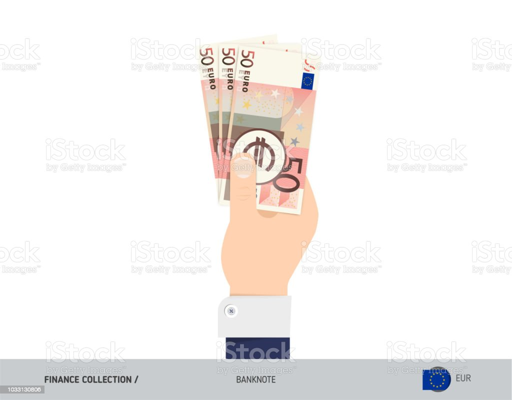 50 Euro Banknote Hand Gives Money Flat Style Vector Illustration