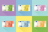 Euro Banknote Set Flat Design with Shadow Vector Illustration