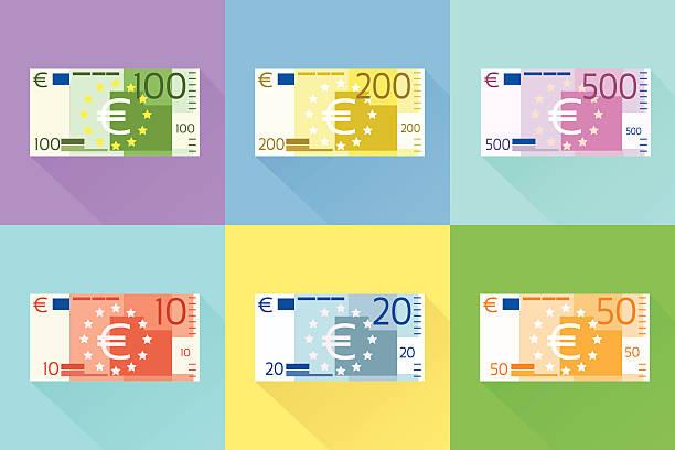 ilustrações, clipart, desenhos animados e ícones de nota de euro conjunto de design plana com sombra vetores - dinheiro