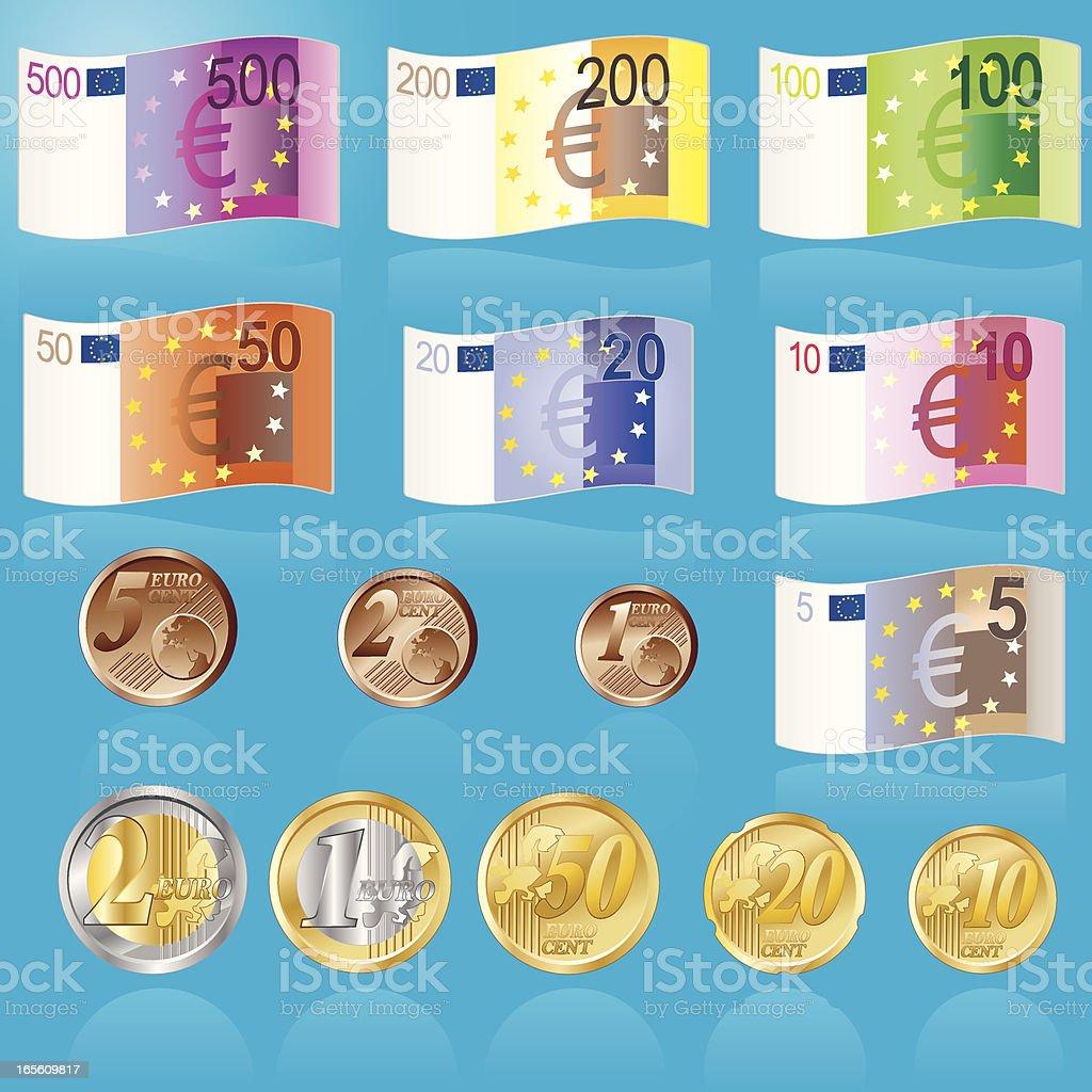 Euro Banknoten Und Muenzen Stock Vector Art More Images Of Blue