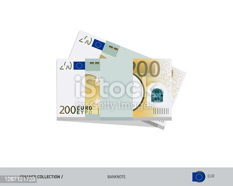 istock 200 Euro banknotes. A bundle of money. Flat style vector illustration. 1267121723