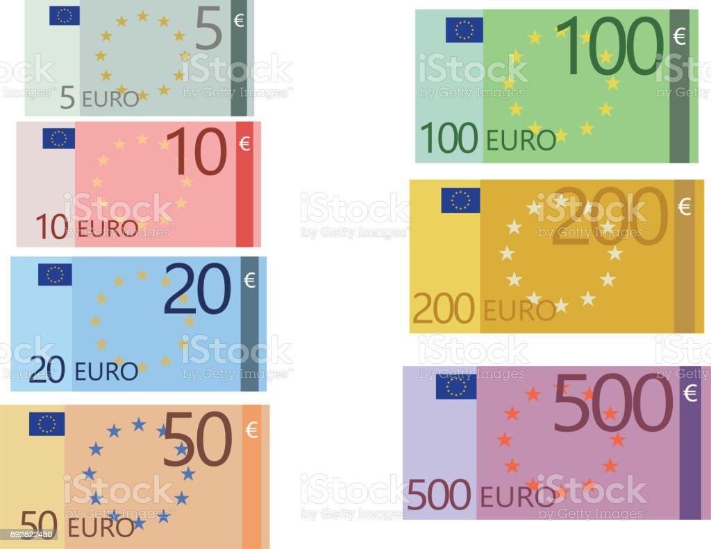 Collection de billets en euro - Illustration vectorielle
