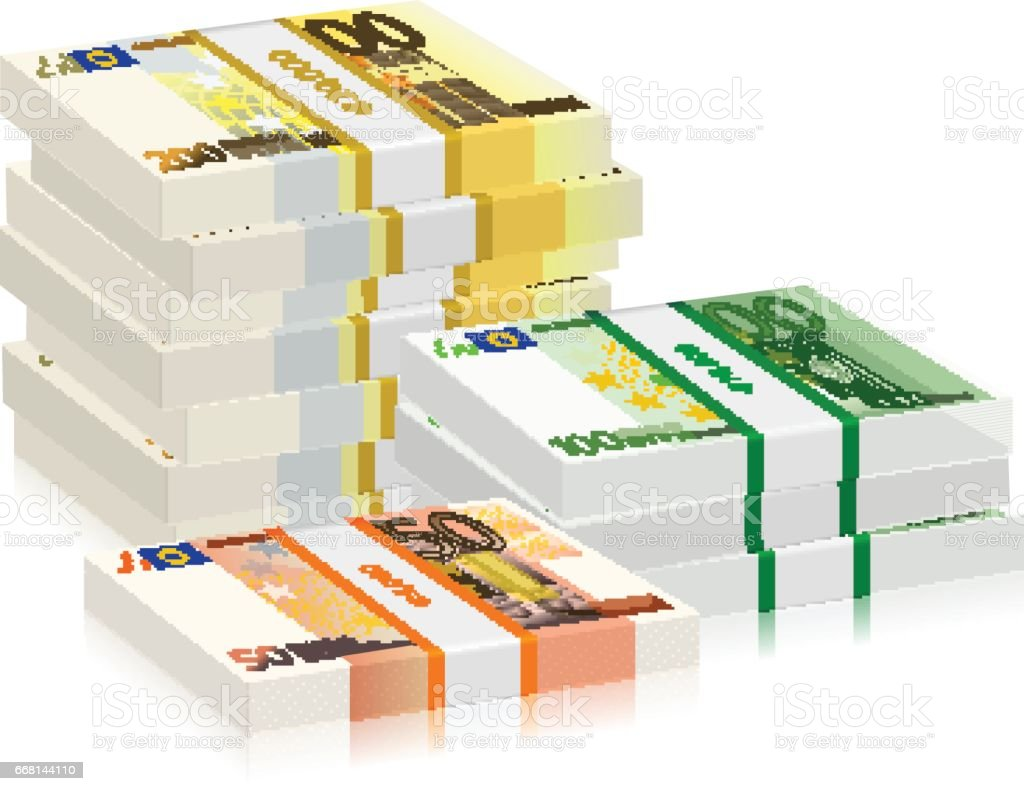 euro banknotes stacks vector art illustration