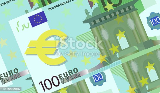 istock 100 Euro bill. Cash. Euro background. Five hundred euro banknotes Design for poster, article. 1315565597