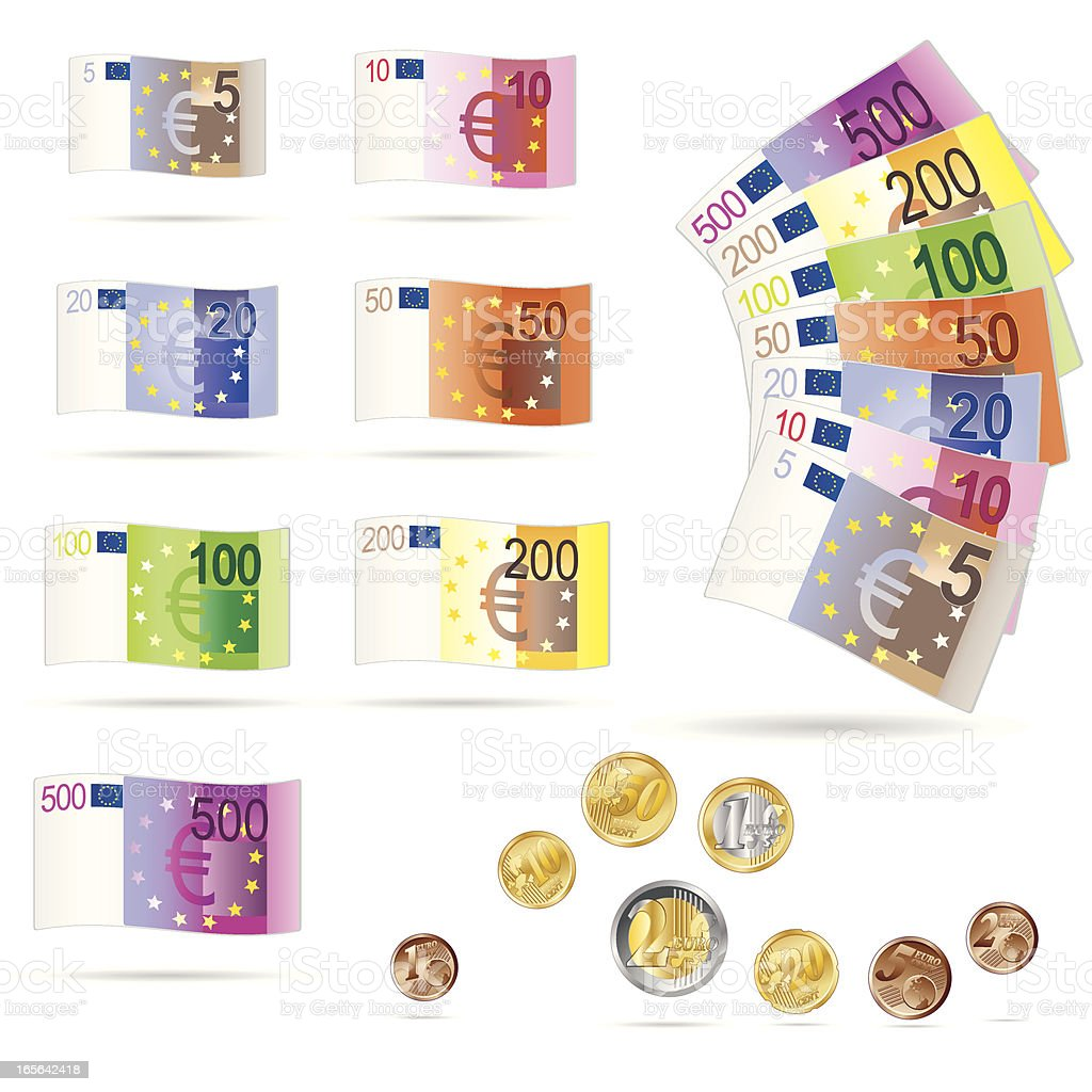 Euro bills and coins collection vector art illustration