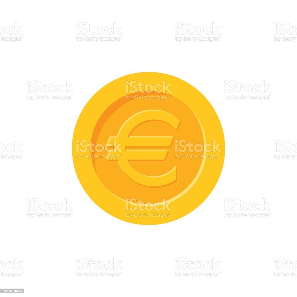 Euro coin. Flat design icon vector art illustration