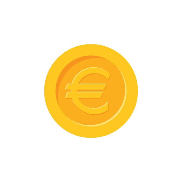 Euro coin. Flat design icon Euro coin. Flat design icon euro symbol stock illustrations