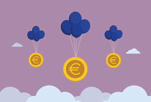 Euro coin float in the sky by a balloon