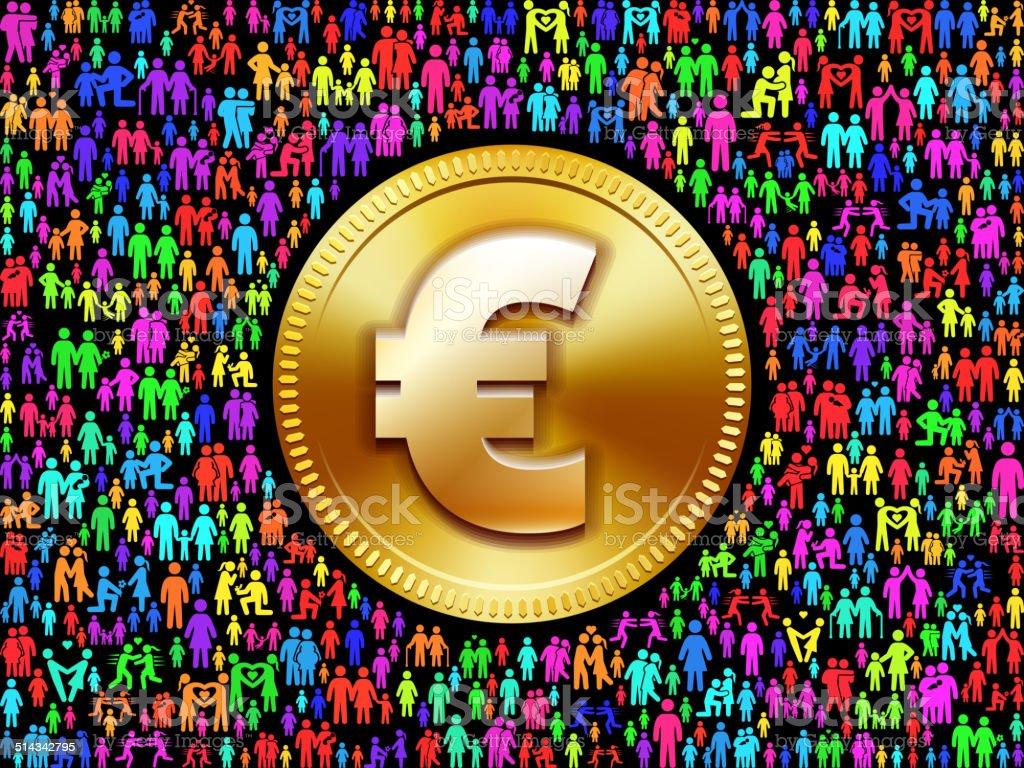 Euromünze Auf Strichmännchen Lizenzfreie Vektorgrafikmuster Stock
