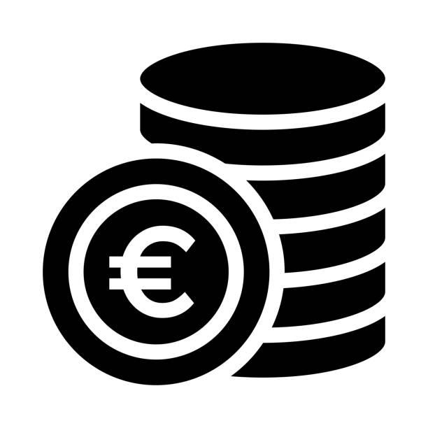 euro münze dünne linie vektor icon - euros cash stock-grafiken, -clipart, -cartoons und -symbole