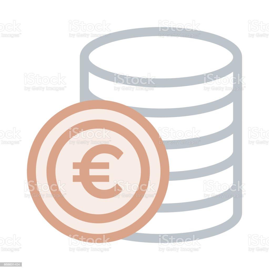 icône de vecteur ligne mince euro pièce - Illustration vectorielle
