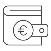 Euro coin wallet thin line icon. Finance savings, purse for cash symbol, outline style pictogram on white background. Money transfer sign for mobile concept and web design. Vector graphics