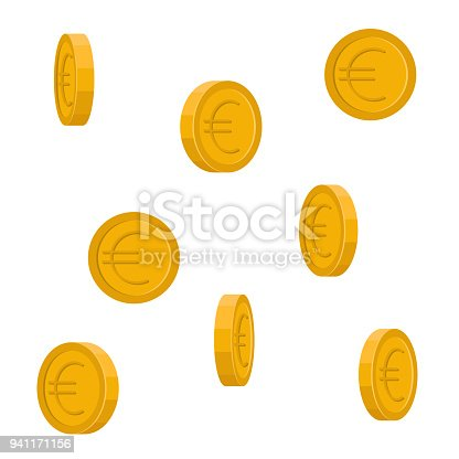 Vector image of Euro coins falling down