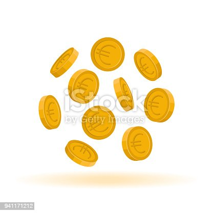 Floating in the air Euro coins in the round shape, vector