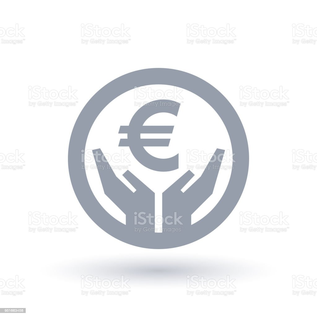 Euro currency hands icon - European money success symbol vector art illustration