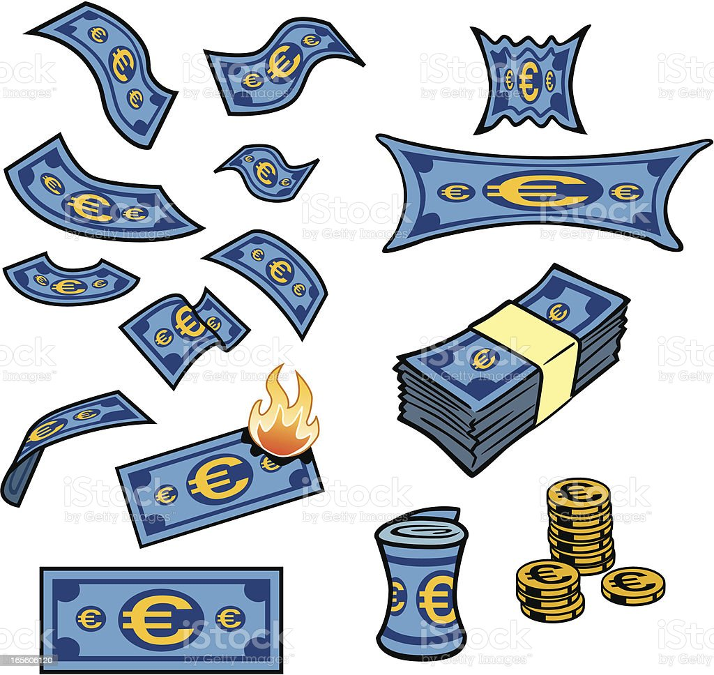 Euro Dollars Artwork vector art illustration