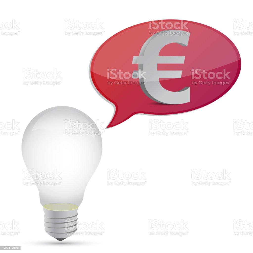 euro energy saving bulb illustration design over white vector art illustration