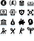 Euro Finance and Money Black & White Icon Set